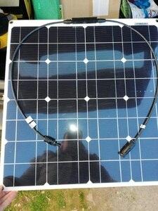 Image 3 - 50W 12V 100W Zwarte Glasvezel Semi Flexibele Monokristallijn Zonnepaneel Voor 12V Lading Batterij Op boten, caravans, Campers,