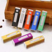 Terbaru Fashion Multicolor Mini Listrik USB Lighter Rechargeable Portable Tahan Angin Flameless Logam Korek Api(China)