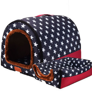 Image 1 - Warm Dog House Print Stars Soft Foldable Pet dogs bed For Puppy large medium Travelling Portable Kennel Mat Cat bed Pet Supplies
