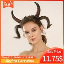 Antelope Sheep Horn Headband Cosplayสัตว์Antler Headwear SteampunkฮาโลวีนCarnival Masquerade Hairband Props
