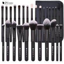 DUcare – ensemble de pinceaux de maquillage noirs professionnels, poils de chèvre naturels, poudre de fond de teint, fard à paupières, Contour