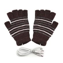 USB Powered Heating Gloves Winter Warmer Wrist Hand Men Women Half Finger Warm Knitted Cycling Heated Gloves For Outdoor Sports недорого