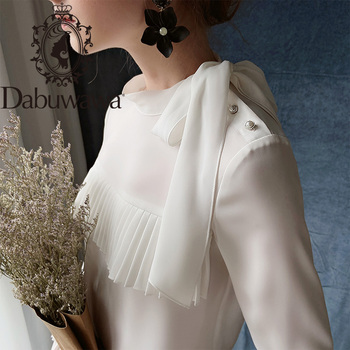 Dabuwawa Elegant Pleated Front Blouse Women Autumn Ruffle Sleeve Bow Neck Casual Solid Blouses Shirts Office Lady DT1CST005 dabuwawa elegant white v neck solid lace cutout blouse women tops short sleeve button front blouses shirts female dt1bla004