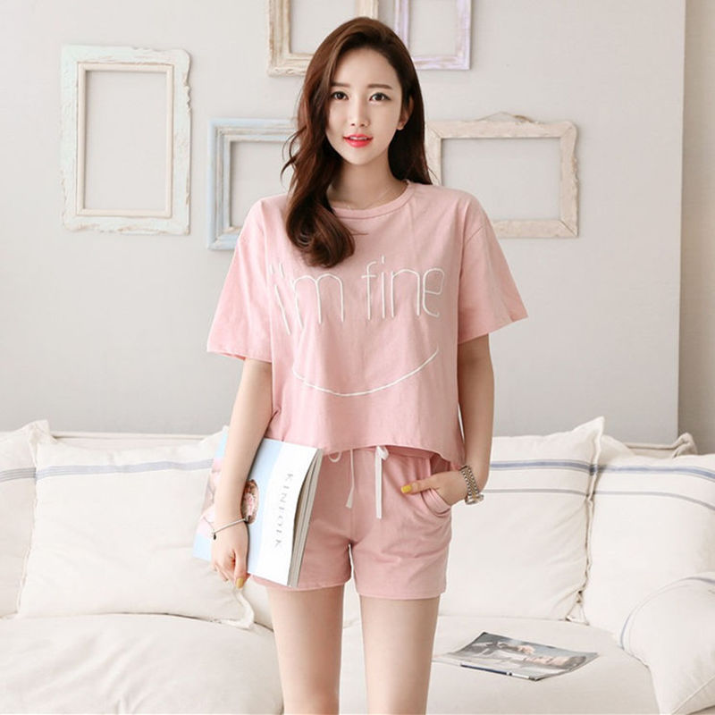 2019 New Style Korean-style Loose-Fit T-shirt Large Size Set WOMEN'S Dress Lettered Short Sleeve T-shirt Shorts Sports WOMEN'S S