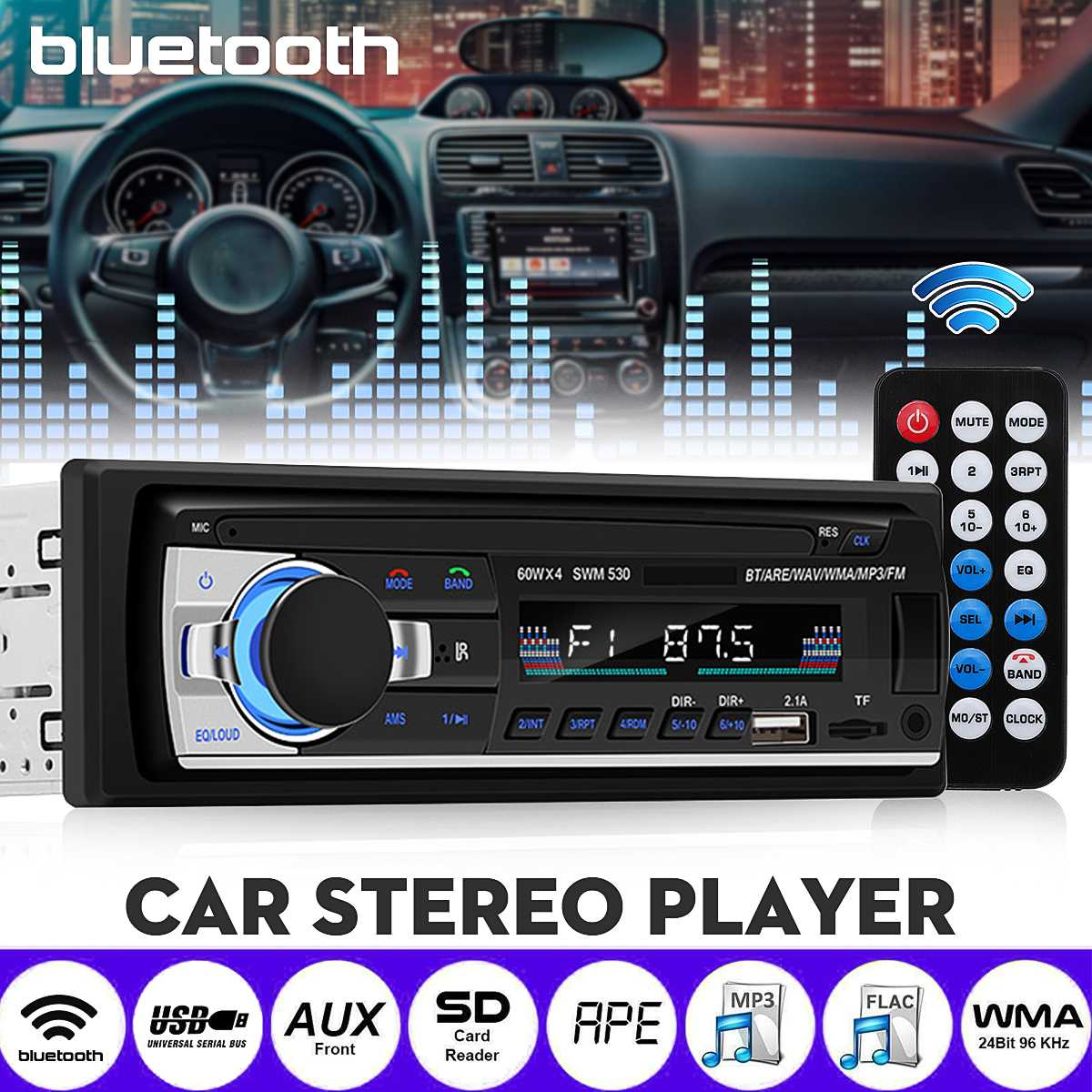 1 Din Car Radio Autoradio bluetooth MP3 Player Automobile Multimedia Player FM Aux Input Receiver SD USB Handfree Auto image