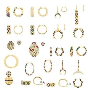 Sólido 925 prata esterlina clipe brincos multicolorido zircônia ceométrico padrão tribal brincos listras tribal feminino mana jóias