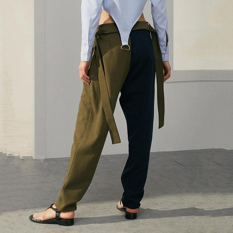 Tvvovwin 2019New Весна Лето Высокая талия соединены хит цвет зеленый короткие личности свободные длинные брюки женские брюки Мода C771 - 3