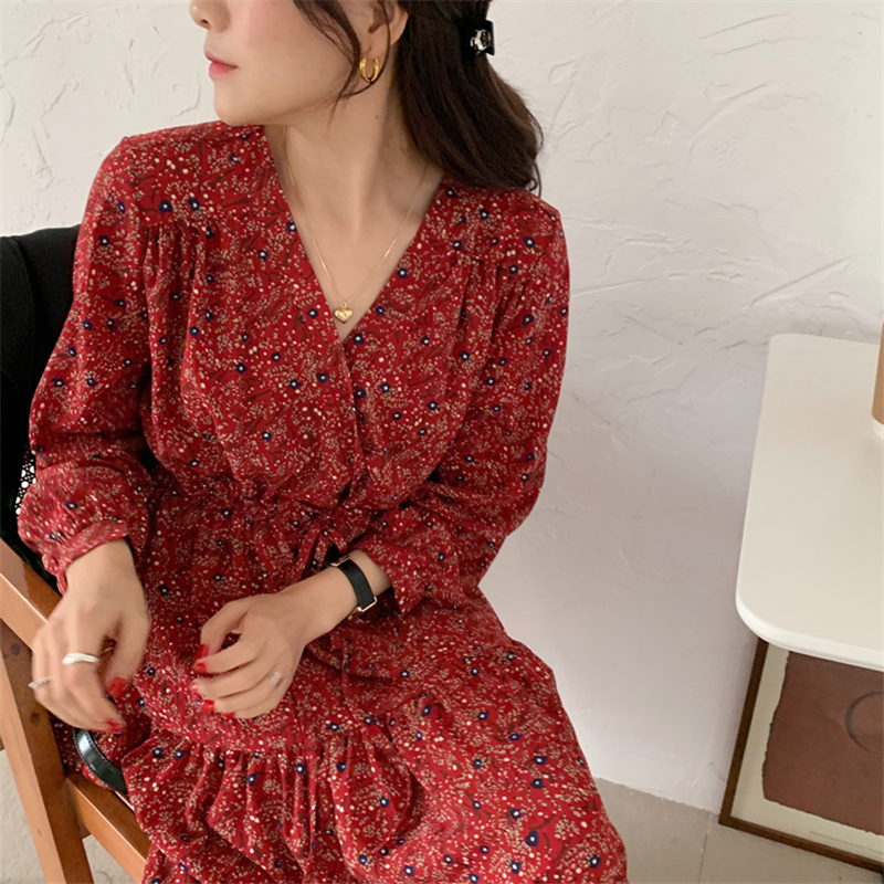 H85d86f8e1ffc4eb0b9d97b43f970973fA - Autumn V-Neck Lantern Sleeves Waist-Controlled Floral Print Midi Dress