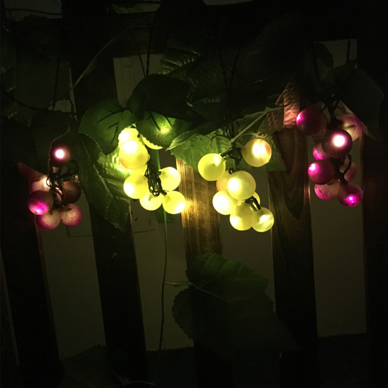 60 LED String Light Outdoor Green Purple Grape With Vine Waterproof String Night Lights Garden Home Party Christmas Decoration