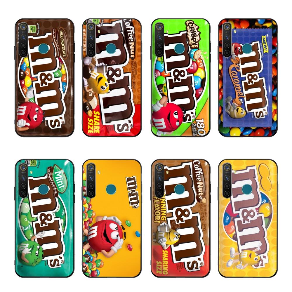Nbdruicai m & ms のチョコレート印刷パターンソフト黒電話ケース oppo realme 5 3 2 プロ F7 F9 f11 F3 リノカバー