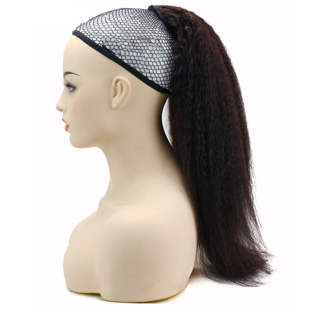 Kinky Straight Human Hair Ponytail For Black Women Natural Color Remy Hair Clips In Drawstring Ponytails Extensions Eseewigs