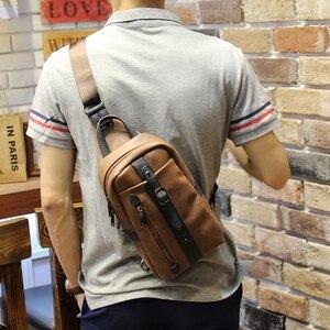 Image 3 - Neue design pu leder männer brust pack Koreanische mode casual braun schulter diagonal tasche flut männlichen Messenger sling Tasche