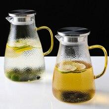2л/1.5л термостойкий стеклянный кувшин с крышкой из нержавеющей стали/водяной караф с ручкой для напитков кувшин для сока и чая со льдом