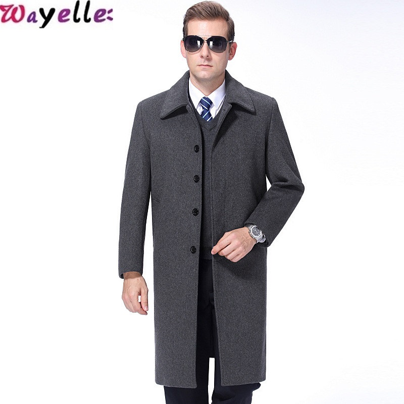 2019 New Winter Cashmere Coat Men 39 s Thick Lapels Young Fashion Clothing Cashmere Long Gray Warm Coat Male Jacket Big Size in Jackets from Men 39 s Clothing
