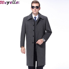 2019 New Winter Cashmere Coat Mens Thick Lapels Young Fashion Clothing Long Gray Warm Male Jacket Big Size