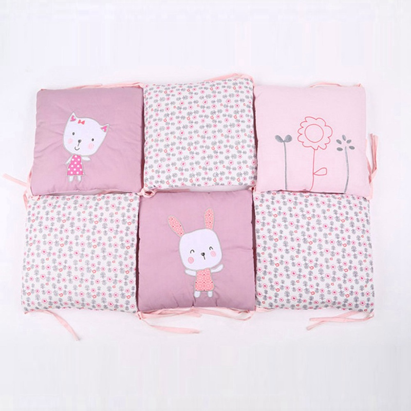 6 Pcs Newborn Baby Cotton Anti-collision Baby Bed Protector New Crib Embroidered Rabbits Bedding Bumper 30*30