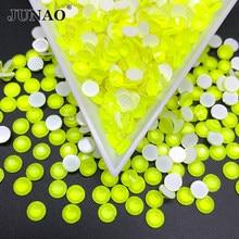 JUNAO – Strass de couleur jaune néon brillant SS16 SS20, verre à dos plat, rond en cristal Non chaud, Fixation en pierre de cristal, artisanat