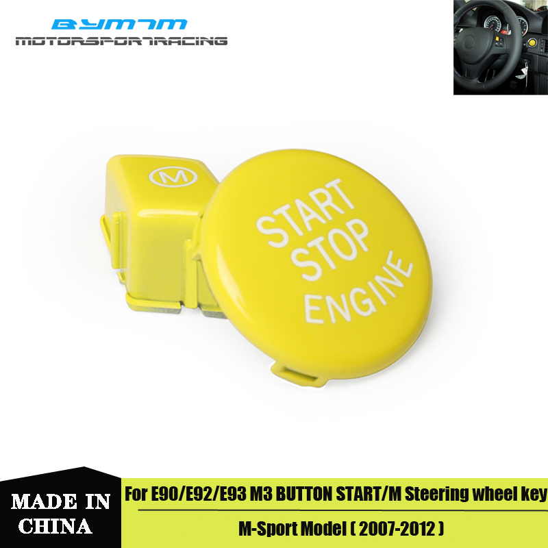 Car Steering Wheel Yellow M Switch Button Cover Trim Start Stop Button For BMW 3-Series E90 E91 E92 E93 M3