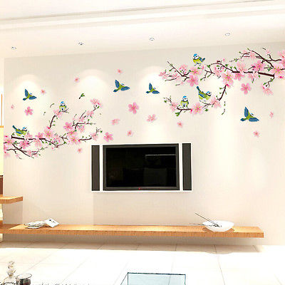 1Pcs Cherry Blossom Flower Butterfly Tree Wall Art Stickers Decals Home Room Decor DIY Decorative Mural Vinyl Removable Sticker