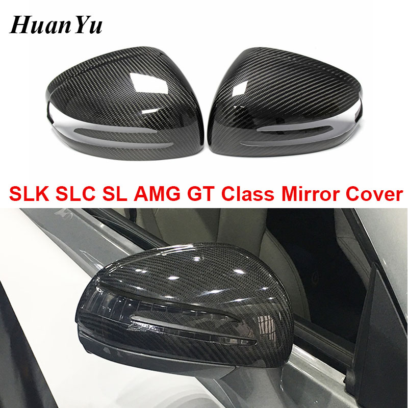 R172 Carbon Fiber Mirror Cover for <font><b>Mercedes</b></font>-<font><b>benz</b></font> <font><b>SLK</b></font> SLC SL AMG GT Add-on Side Door Rearview <font><b>SLK200</b></font> 250 SLC300 SLC260 2012-2019 image