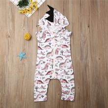 Newborn Baby Boys  Girls Clothes Hooded Dinosaur Romper Jumpsuit Outfits Small Babys