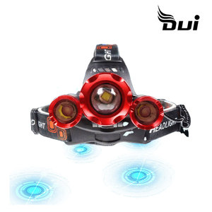 DUI New 3LED powerful USB rechargeable T6 2XPE focusing aircraft outdoor lighting headlamp(China)