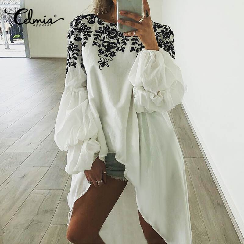 Top Fashion Celmia Women O-neck Long Lantern Sleeve Retro Ptinted Blouse Tunic Shirt Casual Loose Asymmetrical Long Blusas Mujer