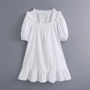 2020 lato nowy koreański wersja biały kwadrat kołnierz potargane sukienka z bufkami kobiet małe świeże luźna sukienka dla dzieci