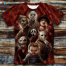 SONSPEE Summer Top Fashion Horror Movie Chucky T-shirts Brand Clothing 3D Print Short Sleeve Crew Neck T-Shirt Homme Streetwear