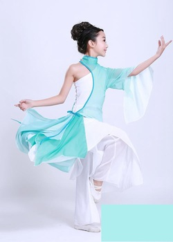 Traditional Chinese Dance Costume Hanfu Chinese Folk Dance Clothing Fan Dance Oriental Dance Costumes Chinese Ancient Costume silk traditional bamboo fan with painting ancient chinese golden
