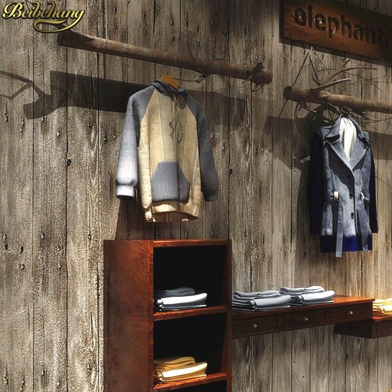 Beibehang rétro nostalgique papier peint rouleau imitation planche bois texture boutique décoration femmes vêtements magasin bois grain papier peint