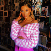 2019 Sexy Streewear Cropped Sweater Cardigan Women Autumn Winter Long Sleeve Pink Plaid Cute Fluffy Jumpers V Neck Sweter Mujer