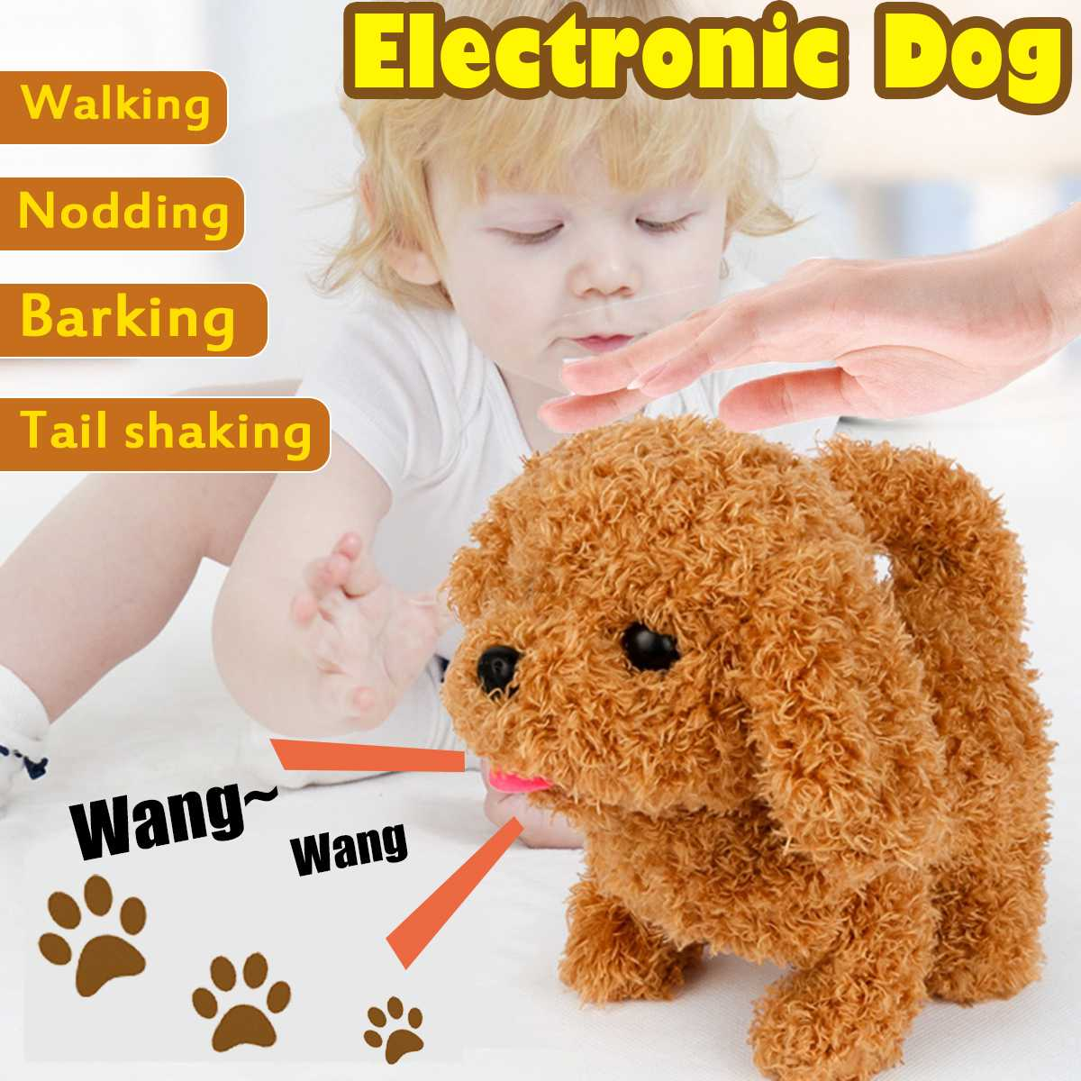Electronic Robot Dog Paipai Control Kids Plush Toy Sound Control Interactive Bark Stand Walk Electronic Toys Dog For Baby Gifts