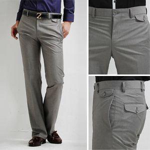 Brand Men's Suit Pants Korean Fashion Silky Slim Fit Long Trouser Pure Color Classic Straight Business Formal Pant Men Wedding