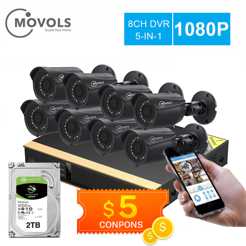 movols 8ch sistema de camera cctv 8 pces 1080p kit camera de vigilancia seguranca dvr