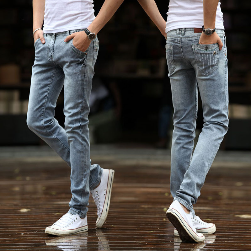 High Quality MEN'S Wear Gray Youth Popularity Slim Fit Elasticity Skinny Jeans Men's Korean-style Fashion Men's Trousers