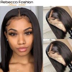 Perruque Bob Lace Front wig brésilienne Remy-Rebecca Fashion | Perruques cheveux naturels, courtes, 13x4, pour femmes noires