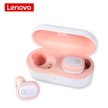 Lenovo Bluetooth Earphone 5.0 TWS True Wireless Earbuds Stereo Headphones Headset Music Bass Bilateral Earbud for womon pink