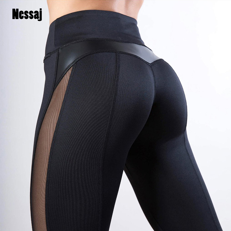 Nessaj Solid Women Color Leggings Sexy Side Mesh PU Leather Patchwork Fitness Leggings Activewear High Waist Workout Leggings