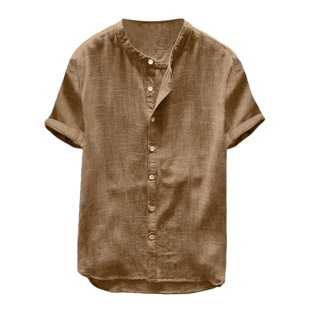 Men Baggy Cotton Linen Solid Short Sleeve Button T Shirts Tops Blouse Plus Size