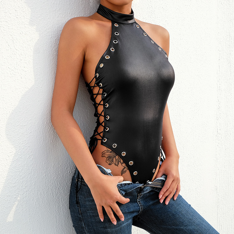 Pu Leather Sexy Bandage Rompers Women Bodysuit Shoulderless Pure Black Women Jumpsuit Halter Neck Clubwear Streetwear 2019 New