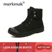 Botas de lona Merkmak Otoño Invierno para hombre estilo de combate del ejército de moda botas de tobillo militares de alta calidad zapatos de hombre zapatillas de deporte cómodas