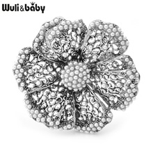 Wuli&baby Vintage Gold Color Silver Color Pearl Flower Brooches Women Big Flower Weddings Party Brooch Pins Gifts cmajor flower shaped brooch with pearl jewelry silver gold color brooches for women