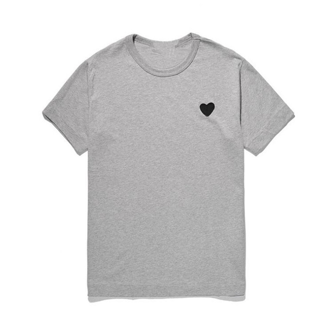 (Have Eyes)Men Women New T-shirt Round Neck Cotton Short Sleeve Embroidery Love-Heart Black Heart Spring Summer Loose T-shirt 4
