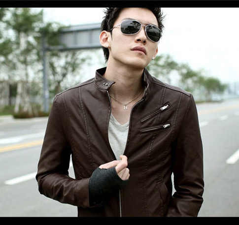 Men Motorcycle Jacket Korean-style Leather MEN'S Outerwear Slim Fit Trend Leather Jacket High-waisted