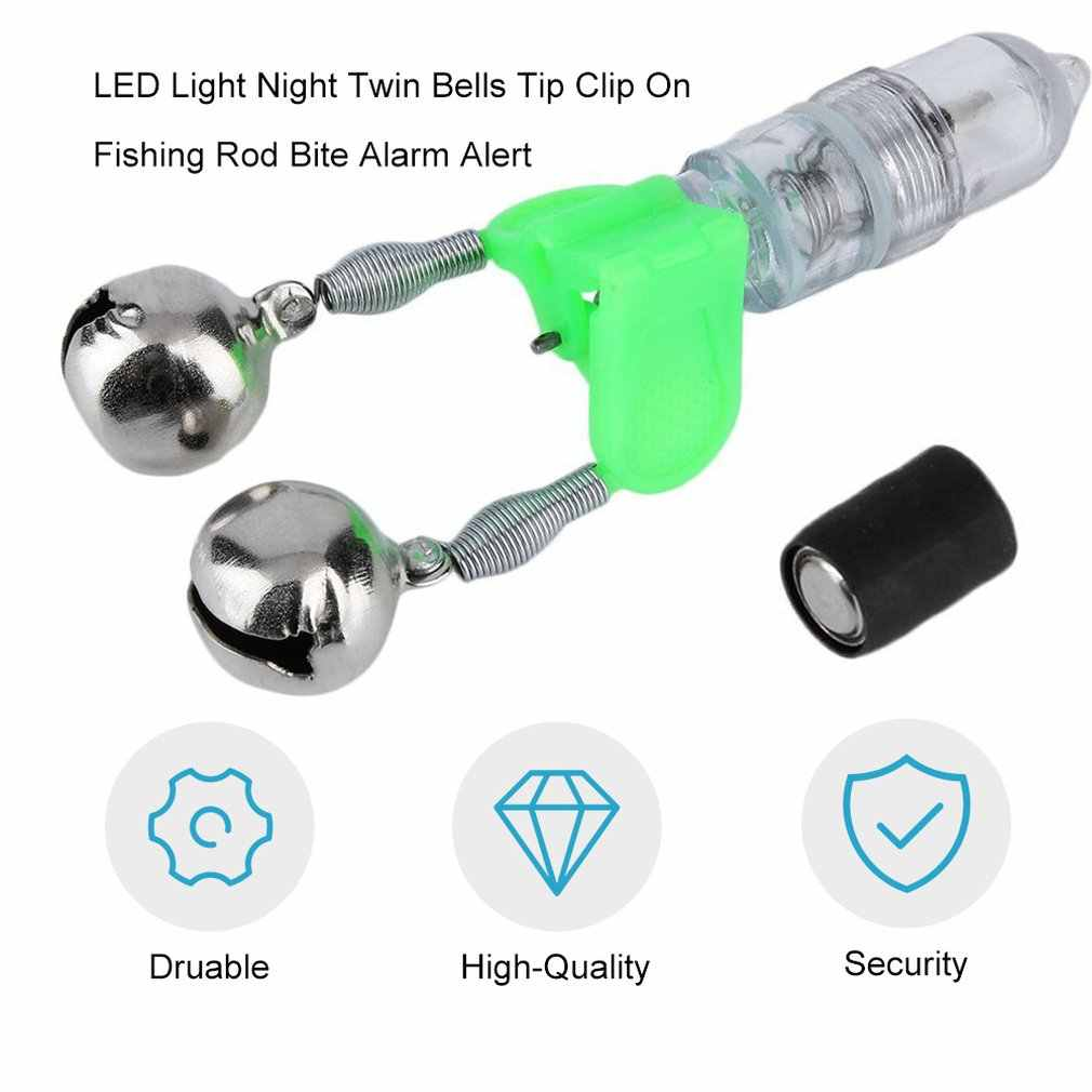 LESHP New LED Flash Light Night Electronic angling Bite Alarm Set Finder Lamp Double Twin Bells Tip Clip On Fishing Rod Tackle