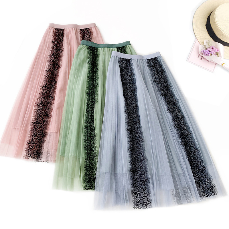 AcFirst Autumn Pink Blue Women Skirt A Line Casual Lace Ankle Length Long Skirts Mesh Sweet Dots Sexy Long Skirts Ball Gown in Skirts from Women 39 s Clothing