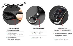 Image 4 - jingyuqin Carbon Fiber Car Silicone Key Case For Hyundai Creta I10 I20 Tucson Elantra Santa Fe 3 Button Remote Flip Fob Cover