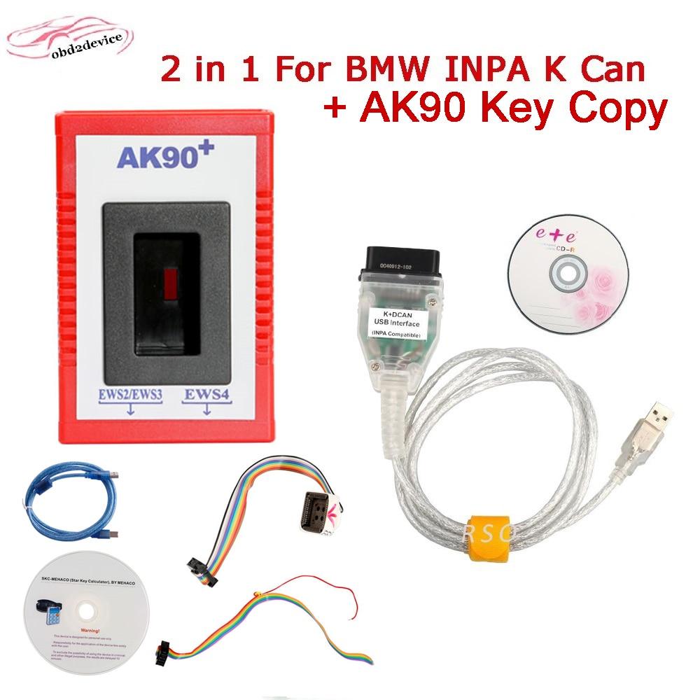 Программатор автомобильных ключей ak90 ForB/MW v3.19 EWS от 1995 до 2009 Ak90 + программа ключей автомобиля + кабель INPA K CAN FT232RL чип для B/MW 1998