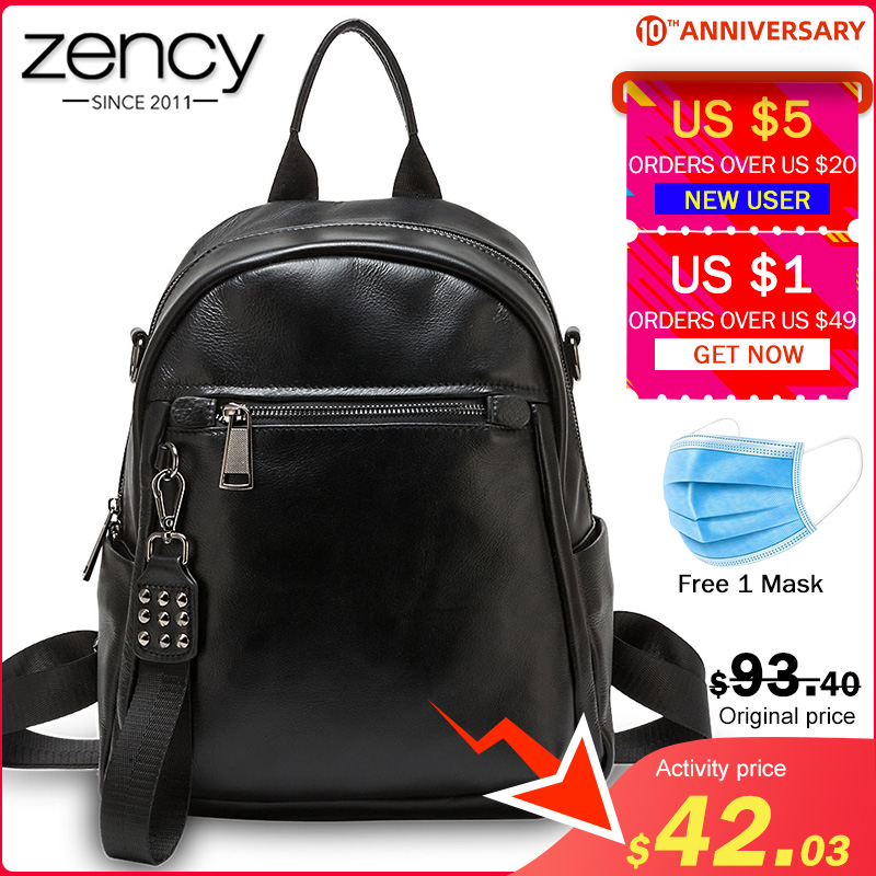 Zency 100% Genuine Leather Practical Women Backpack Large Capacity Knapsack Fashion Lady Travel Bag Girl's Schoolbag Black Grey